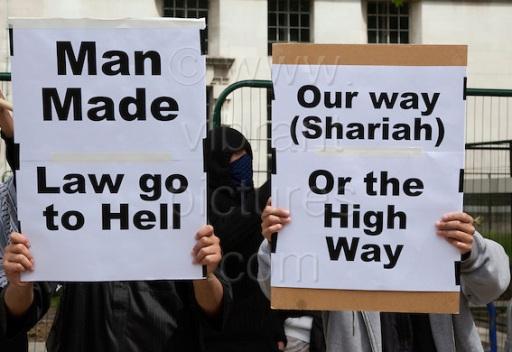 Pro Sharia Law Demonstration outside Downing Street, London, UK, 20 June 2010