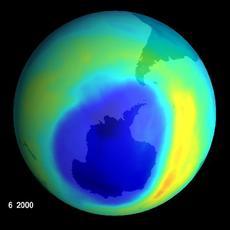 NASA IMAGE OF LARGEST EVER OZONE HOLE OVER ANTARTICA