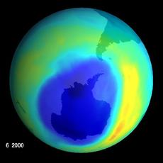 NASA IMAGE OF LARGEST EVER OZONE HOLE OVER ANTARTICA